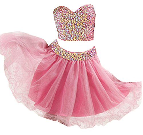 Pink zweiteiliges emmani Kleid Sweetheart Damen Homecoming zqW0fOH