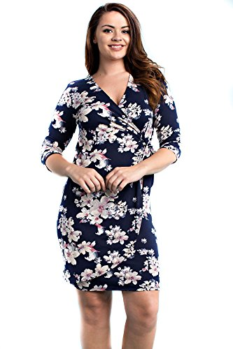 Allora Women's Plus Size Wrap Dress (2X, Floral - Premium Outlets Tx