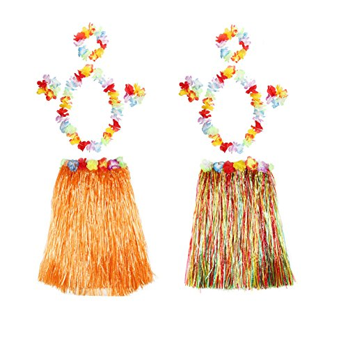 Plus Size Barbie Costumes (PARTYMASTER Elastic Hawaiian Hula Dancer Grass Skirt with Flower Leis,Adult Size,Set of 2)