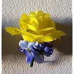 Royal-Blue-Yellow-Rhinestone-Rose-Hydrangea-Bridal-Wedding-Bouquet-Boutonniere