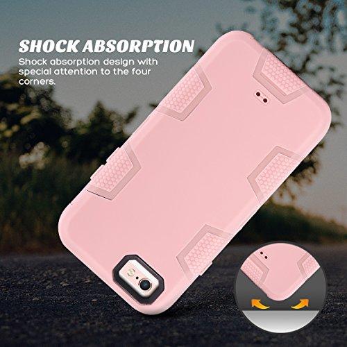Caso del iPhone 6s, Ulak iPhone 6 Caso Funda Carcasa 3en1 prueba de golpes duro híbrido combinado rígido de la PC + cubierta suave de silicona protectora para el iPhone 6 / 6s (4,7 pulgadas) (Bebé ros Bebé rosa