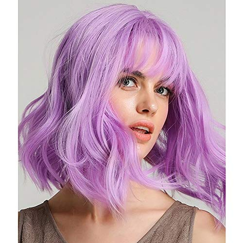 AISI HAIR Wavy Wig with Bangs Curly Bob Short Wigs Purple Mixed Pink Hair Short Cosplay for Halloween Heat Resistant Synthetic Wig