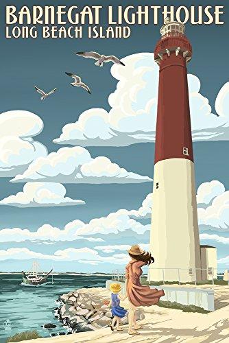 Long Beach Island, New Jersey - Barnegat Lighthouse (9x12 Fine Art Print, Home Wall Decor Artwork Poster) ()