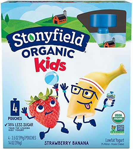 Stonyfield Organic Kids Yogurt Pouch, Strawberry Banana, 14 oz (Pack of 4)