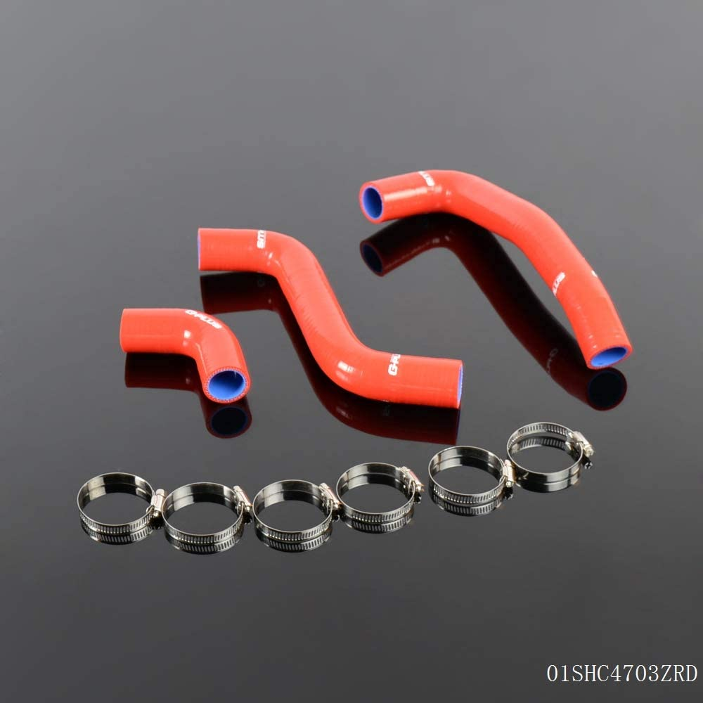 High Performance 3-Ply For SCION XB XA BB 1NZ-FE//2NZ-FE 2004 2005 2006 2007 Coolant Silicone Radiator Hose Clamps Kit Red 3PCS