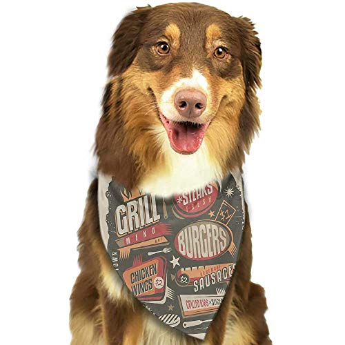 (Custom pet Scarf BBQ Party Grill Menu Design with Steaks Burgers Wings Sausages Ribs and Bacon Retro Effect W27.5 xL12 Scarf for Small and Medium Dogs and Cats)
