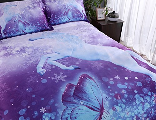 Alicemall 3D Unicorn Bedding Elegant White Unicorn Butterfly Flying Snowflake Print Duvet Cover Set, Soft and Breathable 4 Pieces Purple Bedding Set, Twin Size Kids' Bed Set (Twin, Purple Unicorn) by Alicemall (Image #2)