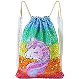 ICOSY Unicorn Mermaid Bag Sequin Drawstring...