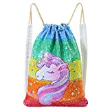 ICOSY Mermaid Sequin Bag Magic Reversible Sequin Drawstring Backpack Glitter Dance Bags Flip Sequins Backpack Bags Shining Sports Backpack for Kids Adults (13.8″x 17.7″)