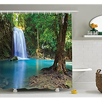 Perfect Woodland Decor Shower Curtain Set By Ambesonne, Waterfall Asia Thailand  Jungle Tropic Plants Trees Waterscape Tourist Attraction, Bathroom  Accessories, ...