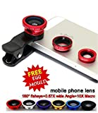 Voltac Universal Mobile Camera Lens Clip-On 3 In 1 Kit, 180 Degree Fisheye Lens With Stainless Steel Egg Mould