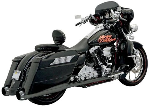 Bassani Xhaust 06-16 Harley FLHX2 P Bagger Stepped True-Duals Exhaust with Power Curve (Black with Black End Caps and Contrasting Flutes / B1-Style Muffler)