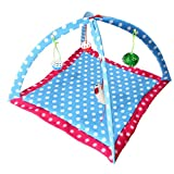 Patgoal Cat Mobile Activity Play Mat Pet Padded Bed with Hanging Toys Bells Balls and Mice (D)