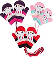 Peecabe Baby Boy Winter Gloves Striped Knitted Gloves with Rope for Girls 3-Pack