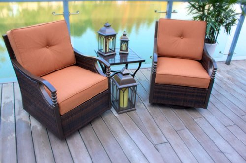 Set of 2 Glider/Rocking and Swivel Aluminum and Wicker Patio Chairs - Swivel Rocking Set