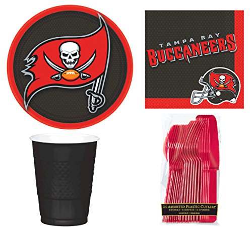 NFL Tampa Bay Buccaneers, Plate, Napkin, Cup, Fork, Spoon, Knife Party Set for 8