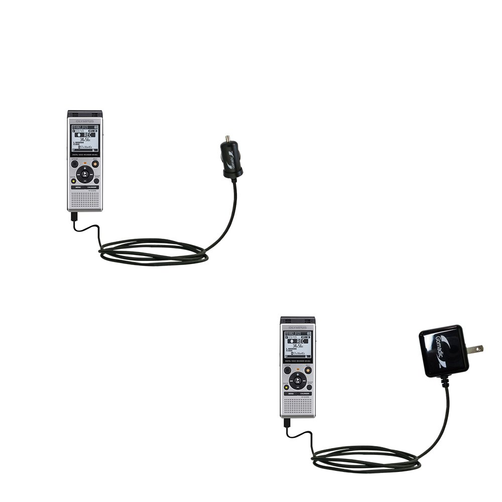 The Essential Gomadic Car and Wall Accessory Kit designed for the Olympus WS-853 - 12v DC Car and AC Wall Charger Solutions with TipExchange