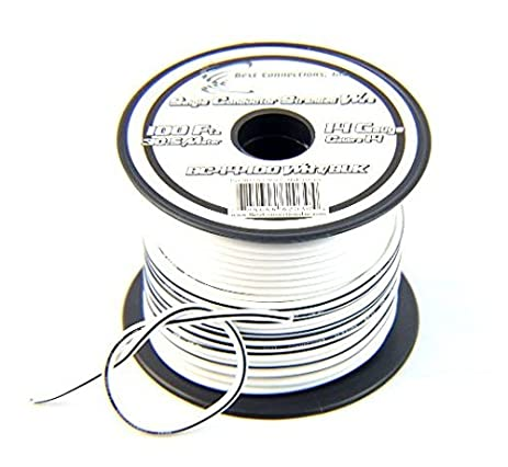 Amazon.com: 14 Gauge 100\' FT Stranded Hook Up Wire White w/ Black ...