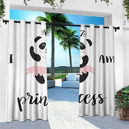 Hengshu I am a Princess, Indoor/Outdoor Single Panel Print Window Curtain,Funny Ballerina Panda Bear Dancing in Pink Skirt Baby Kids Girls, W84 x L96 Inch, Black and White Rose ()