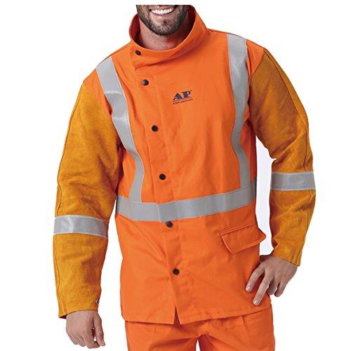 AP-2730 HI-VIS Reflective Tape Leather & FR Hybrid Welding Jacket size XL (Golden&Orange - Jackets Hybrid Welding