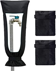Guiyan Outdoor Faucet Cover Freeze Protector for Winter Spigot Covers Outside Faucet Socks Waterproof Hose Spicket Insulator - 3 Pack (Black)