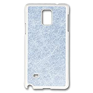 VUTTOO Rugged Samsung Galaxy Note 4 Case, Network Lines Light Blue Texture White Plastic Hard Case Back Cover for Samsung Galaxy Note 4 N9100