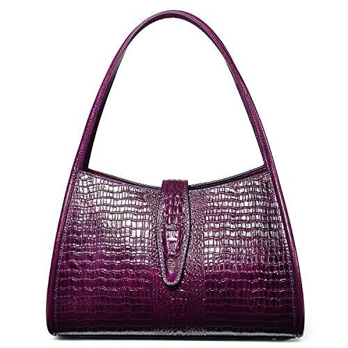 PIJUSHI Designer Shoulder Purses Hobo Handbags for Women Leather Tote Shoulder Bags (68022 violet) (Bag Embossed Tote Leather Croco)