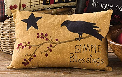 Park Designs Simple Blessings Decorative Embroidered Accent Pillow with crow, Tan, 14X9 (Decor Primitive Clearance)