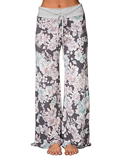 Buauty Womens Cotton Lounge Pants Boho Printed Pajama Yoga Palazzo Loose Sweatpants Light Grey