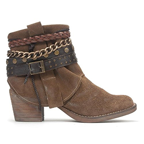 Veronica Leather Fashion Boots Closed Blu Tabacco Ankle Womens Leather Toe Chocolat vw4PO4