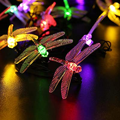 Outdoor Solar String Lights with Dragonflies by Icicle, 16ft 20 LED 8 Modes Fairy Lighting for Christmas Trees, Garden, Patio, Wedding, Party and Holiday Decorations