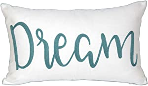 DECOPOW Embroidered Inspirational Quote Throw Pillow Cover with Dream Pattern,Dream Decorative Canvas Pillow Cover 12 X 20 Inches
