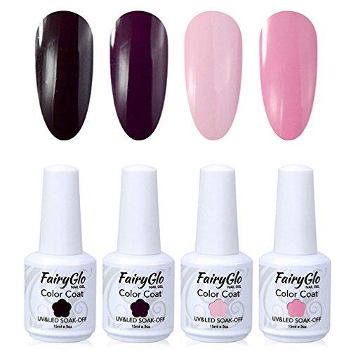 FairyGlo 4 Color Well-Picked Gelpolish Nail Polish UV LED Soak Off Gel Manicure Beauty Varnish Fashion Nail Art Kit Gift Set Base Top 15ml 100