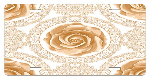 (Floral License Plate by Ambesonne, Rose Florets with Classic Golden Lace Authentic Feminine Retro Oriental Motif, High Gloss Aluminum Novelty Plate, 5.88 L X 11.88 W Inches, Sand Brown White)