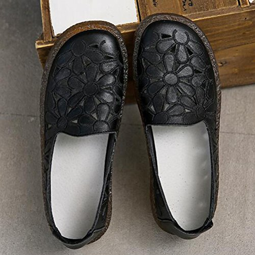 On New Round Style2 Women's Shoes Slip black Loafers Floral Minibee Toe Leather Flat pgx0ZF
