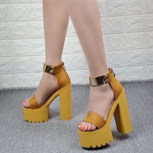 de sandalias ahuecado alto talón 14 en XiaoGao verano centímetros Amarillo XxFqwXT