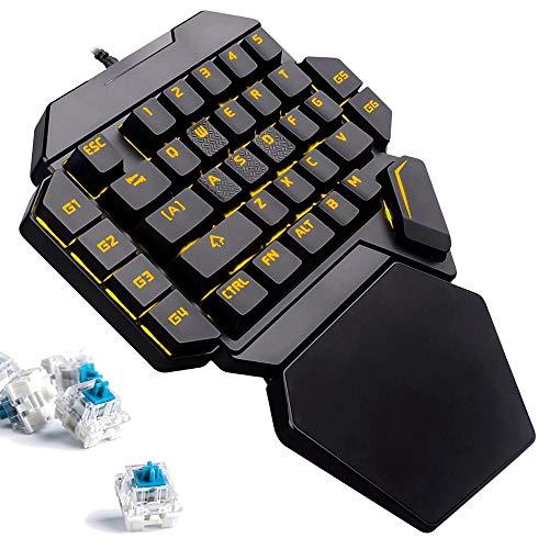 K50 RGB One-Hand Mechanical Gaming Keyboard, Keyboard 35-Key Blue Switch, USB Wired Rainbow Portable Mini-Game Keyboard Macro Definition, Support Wrist -
