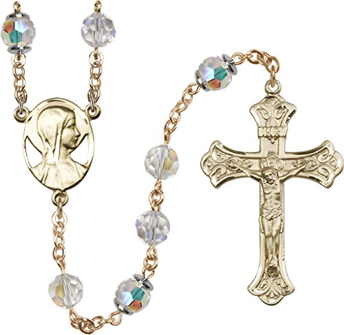 8mm Crystal Swarovski, Capped Our Father Aurora B-14 Karat Gold Rosary features 8mm Crystal Swarovski, Capped Our Father Aurora Borealis beads. The Crucifix measures 1 7/8 x 1 1/8. The centerpiece features a Novena medal.-Each Rosary is presented in a deluxe velvet gift box. Hand-crafted in the USA by a group of talented artisans. (Aurora Borealis Crystal Rosary Beads)