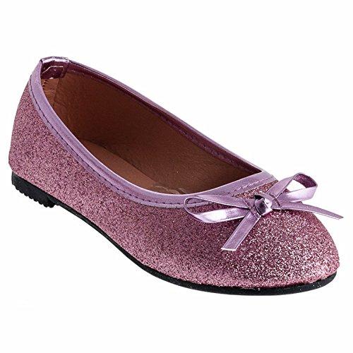 Eva Mode Festliche Mädchen Ballerinas Schuhe Glitzer Schleife in Vielen Farben M527pi Pink