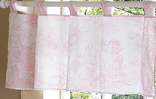 Pink Toile Curtains - Vintage French Pink Toile Window Valance
