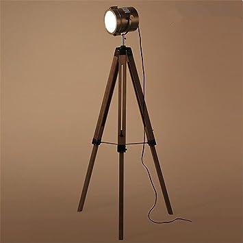 Lámpara de pie - Vintage Trípode Industrial Retro De Madera ...