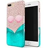 Glitbit Mermaid Tail Sea Shell Glitter Sparkle Cute Tumblr Thin Design Durable Hard Shell Plastic Protective Case For Apple iPhone 7 Plus / 8 Plus