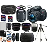 Canon EOS Rebel T5i 18.0 MP CMOS Digital Camera SLR Kit With Canon EF-S 18-55mm IS STM + Canon EF 50mm f/1.4 USM Lens + Wide-Angle Lens + Telephoto Lens + 8GB and 16GB Card + Card Reader + Case + Battery + Flash + Tripod + Remote + 58mm Filter Kit - 24GB Deluxe Accessories Bundle