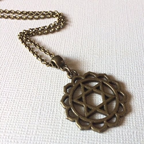 (Heart Chakra Necklace on Bronze Rolo Chain)
