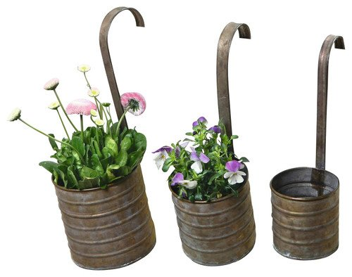 Hanging Metal Flower Planters with Hanging Handles, Set of Three Product SKU: PL221876 For Sale