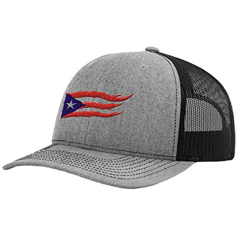 Flame Cap (Speedy Pros Puerto Rico Flame Flag On Black Sewed Richardson Structured Front Mesh Back Cap Heather Gray/Black)