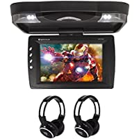 Package: Rockville RVD13HD-BK Black 13 Flip Down Car Monitor DVD Player With HDMI, USB/SD Inputs, Games, And Wireless Remote/Game Controller + (2) Rockville RFH3 Dual Channel Wireless Ir Headphones