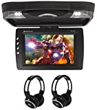 Package: Rockville RVD13HD-BK Black 13'' Flip Down Car Monitor DVD Player With HDMI, USB/SD Inputs, Games, And Wireless Remote/Game Controller + (2) Rockville RFH3 Dual Channel Wireless Ir Headphones