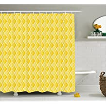 Yellow Decor Shower Curtain by Ambesonne, Quatrefoil Moroccan Themed Oval Geometric Ombre Pattern Artwork, Fabric Bathroom Decor Set with Hooks, 70 Inches, Yellow Merigold and White