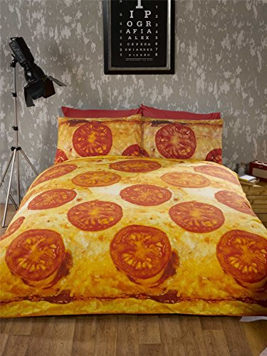 CHEESE AND TOMATO PIZZA YELLOW RED ORANGE USA QUEEN SIZE (230CM X 220CM - UK KING SIZE) COTTON BLEND DUVET COMFORTER COVER (Queen Tomato)